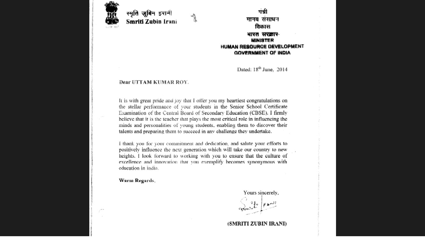 Appreciation letter from Ministry of Human Resource, Govt. Of India